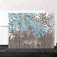 Rustic Winter Thank You Cards - Country Rustic Winter Wood Aqua Blue Snowflake - Printed Cards