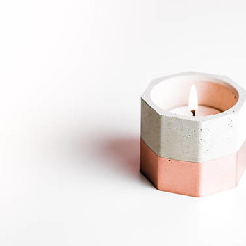 Hexagonal Rose Gold Concrete Candle Tealight Holders | Handmade | Copper | Rose Gold | Gold | Brass