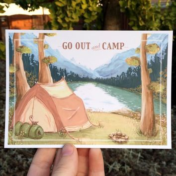 GO OUT AND CAMP POSTCARD