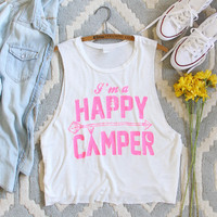 Happy Camper Tank in Pink