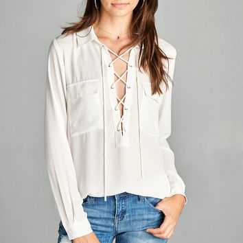 Dobby Pocket Blouse - White