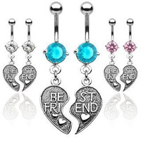 316L Surgical Steel Cubic Zirconia Best Friends Belly Rings Set
