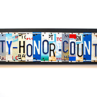 Duty-Honor-Country, OOAK License Plate Art Sign, Custom Army Home Decor, Military Plaque, Veteran art