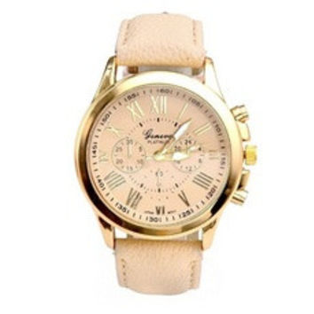 New Women's Fashion Geneva Roman Numerals Faux Leather Analog Quartz Wrist Watch [7938956807]