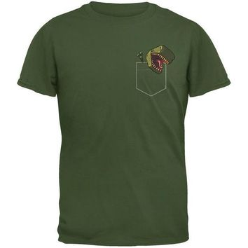 CREYCY8 Pocket Pet T Rex Military Green Adult T-Shirt
