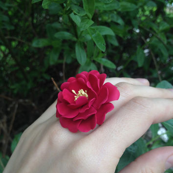 Flover ring, clay flowers, floral jewelry, flower jewelry, floral ring, botanical ring,  polymer clay jewelry, polymer clay ring,