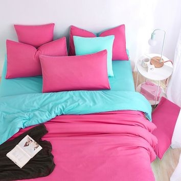 Double Color Element Light Rose Blue Spring Summer Bedding Sets Bed Sheet Duver Cover Quilt Cover Pillowcase King Queen Twin