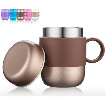 Stainless Steel Insulation Cup Thermos Coffee Mug with Handle Home Office Drinkware (280mL)