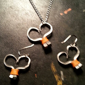 Orange wire wrapped horseshoe nail heart necklace, earrings, or necklace and earrings set jewelry