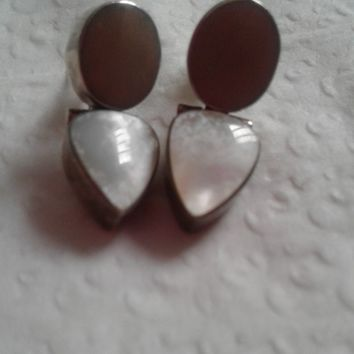 aCleoni Artisan Sterling Silver & Mother of Pearl Dangle Earrings - New