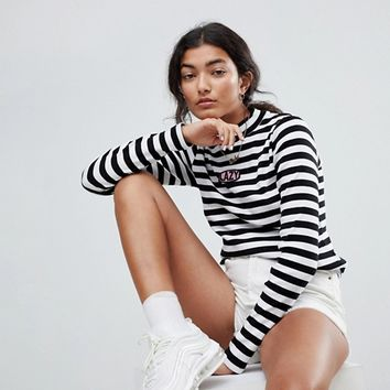 Lazy Oaf Fitted Long Sleeve Top With Lazy Patch In Bold Stripe at asos.com