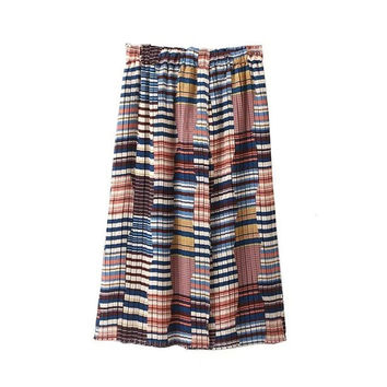 Summer Women's Fashion Split Pleated Skirt