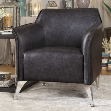Home Elegance HE-1294GY Basseri retro modern gray faux leather chrome legs accent chair