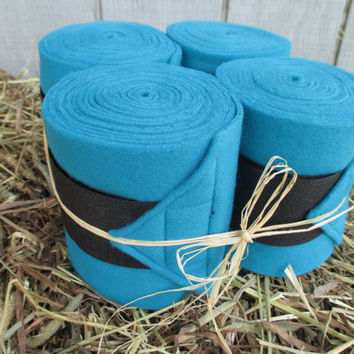 Set of 4 Polo Wraps for Horses- Teal/Turquoise with Black Velcro Closure