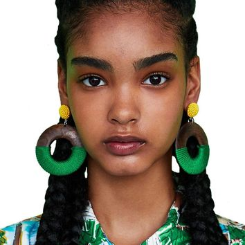 Vedawas Hot ZA Round Wood Big Earrings For Women 2018 New arrival Brand Vintage Statement Dangle Drop Earrings Jewelry xg1392