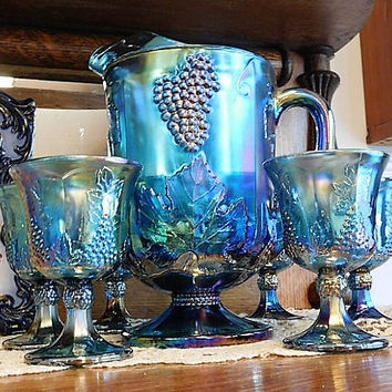 Indiana Harvest Blue Iridescent Carnival Glass Grape and Leaf  Pitcher Set Goblets 1960s 60s Mid Century Vintage Country Cottage Home Decor