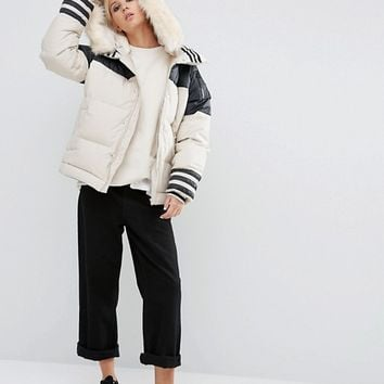 adidas Originals Block Padded Jacket With Faux Fur Trim at asos.com