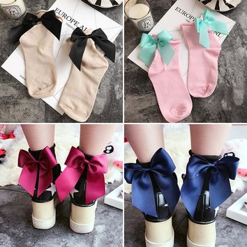 summer new cotton Bow kawayi  Funny Gold Silver Wire After The Heel Ribbon Bow Short Socks Wild Chaussette Female Herring Ankle