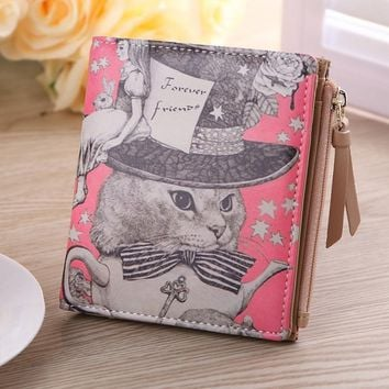 Vintage Marilyn Monroe Purses Cat Print Women Wallets Brand Female Cartoon Wallet Zebra Carteira Feminina Clutch