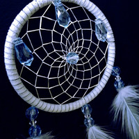 Cruelty free, large grey and blue dreamcatcher necklace.