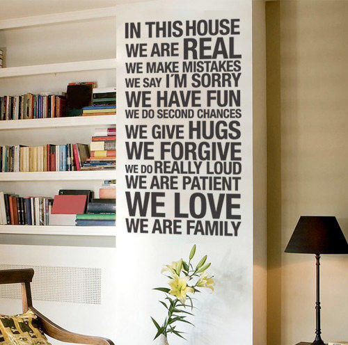 Vinyl Letters Wall Decoration  In this house Decal by Casadart