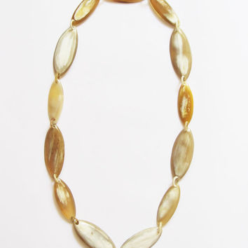 Amber long necklace, chain link necklace, oval bead necklace, fashion jewelry, simple necklace, organic horn, hand carved