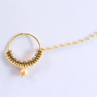 Bollywood Gold Crystal Nose Ring Chain Nath