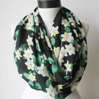 black flowers infinity scarf, scarf, scarves, long scarf, loop scarf, gift