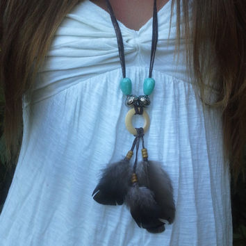 Handmade, Boho, Real , Wild Turkey, Suede, feather Necklace, Turquoise, Silver , Beads, Native, American, style, Dreamcatcher, Free Bird
