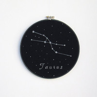 Embroidery  Hoop Art , Zodiac Constellations, Taurus constellation, Hand painted, Astrology, Constellations