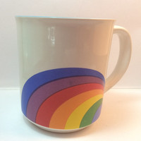 Vintage RAINBOW 1980s Mug Stoneware Free US Shipping Use for Soup Gift Basket Craft Supply Findings Decor Gay Pride Coming Out Gift
