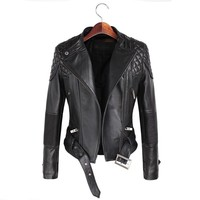 Leather Jackets Women Spring Autumn Rivet Zipper Motorcycle Faux Leather Coat Female Paragraph Lapel Jacket Coat
