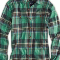 AEO Men's Plaid Workwear Shirt (Green)