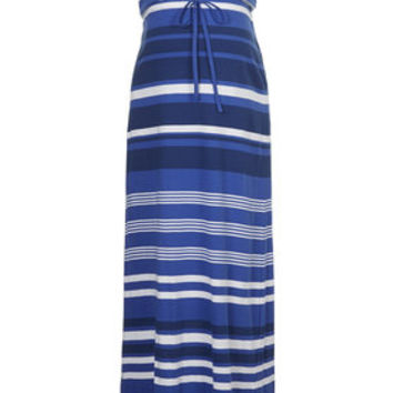 Maternity Cobalt Stripe Bandeau Maxi Dress - Cobalt