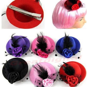 New Fashion Lady's Mini Hat Hair Clip Feather Rose Top Cap Lace fascinator Costume Accessory 6Colors hot