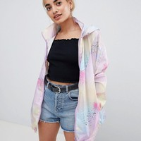 ASOS PETITE Rain Jacket with Bumbag in Pastel Spray Paint at asos.com