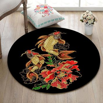 Autumn Fall welcome door mat doormat Indoor Round Living Room Carpet Bedroom Floor Area Rugs Bathroom Non-Slip Cushion Kitchen  Jewelry Fishes And Red Flower AT_76_7