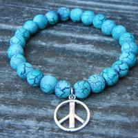Beaded Stretch Charm Bracelet with Turquoise Beads and Silver Peace Sign Charm Stackable Bracelet