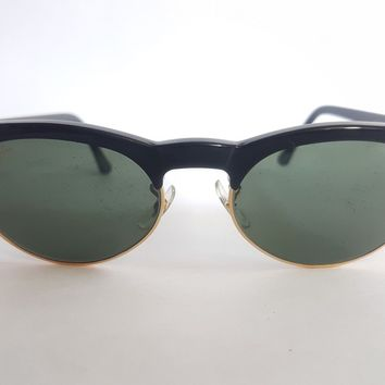 New Vintage B&L Ray Ban Oval Max Black W1266 Wayfarer Clubmaster Sunglasses USA