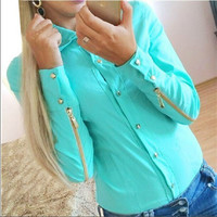feminine blouse  new Spring fall fashion female shirt made with zipper plus size blouses Free Shipping 3 colors Size S-XXXL