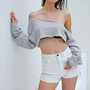 Women Fashion Personality Oblique Shoulder Long Sleeve Sweater Loose Crop Tops