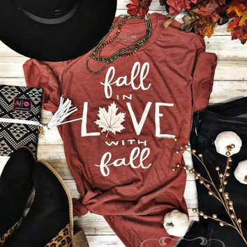 Clay Fall in Love with Fall Graphic Tee (S-2XL)