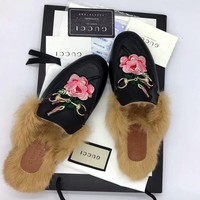 GUCCI Princetown Black Embroidered Leather Slipper""