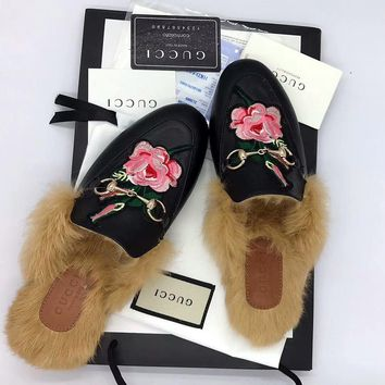 """GUCCI Princetown Black Embroidered Leather Slipper"""""""