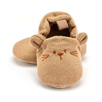 Adorable Infant Slippers Toddler Baby Boy Girl Knit Crib Shoes Cute Cartoon Anti-slip Prewalker Baby Slippers