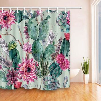 Colorful Cactus Print Shower Curtain