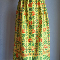 Vintage NOS Ruth Clarage Hand Printed Original Maxi Skirt XS Deadstock Butterfly Fruit w Border