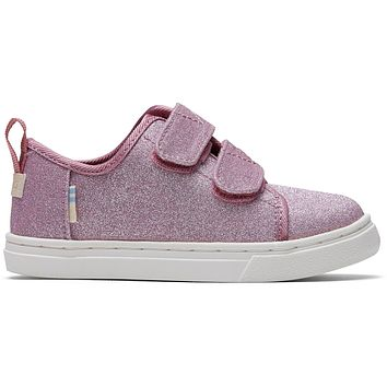TOMS - Tiny Lenny Double Strap Ballet Pink Glitter Sneakers