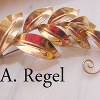 Large Vintage Retro A. REGEL Gold Filled  Brooch / Leaf Motif / Designer Signed / Jewelry / Jewellery