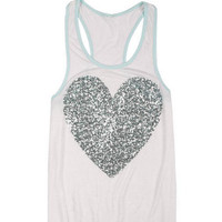Mint Sequin Heart